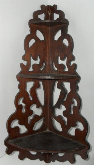 Antique Vintage Victorian Scrollwork Wood Hanging Whatnot Curio Display Shelf photo