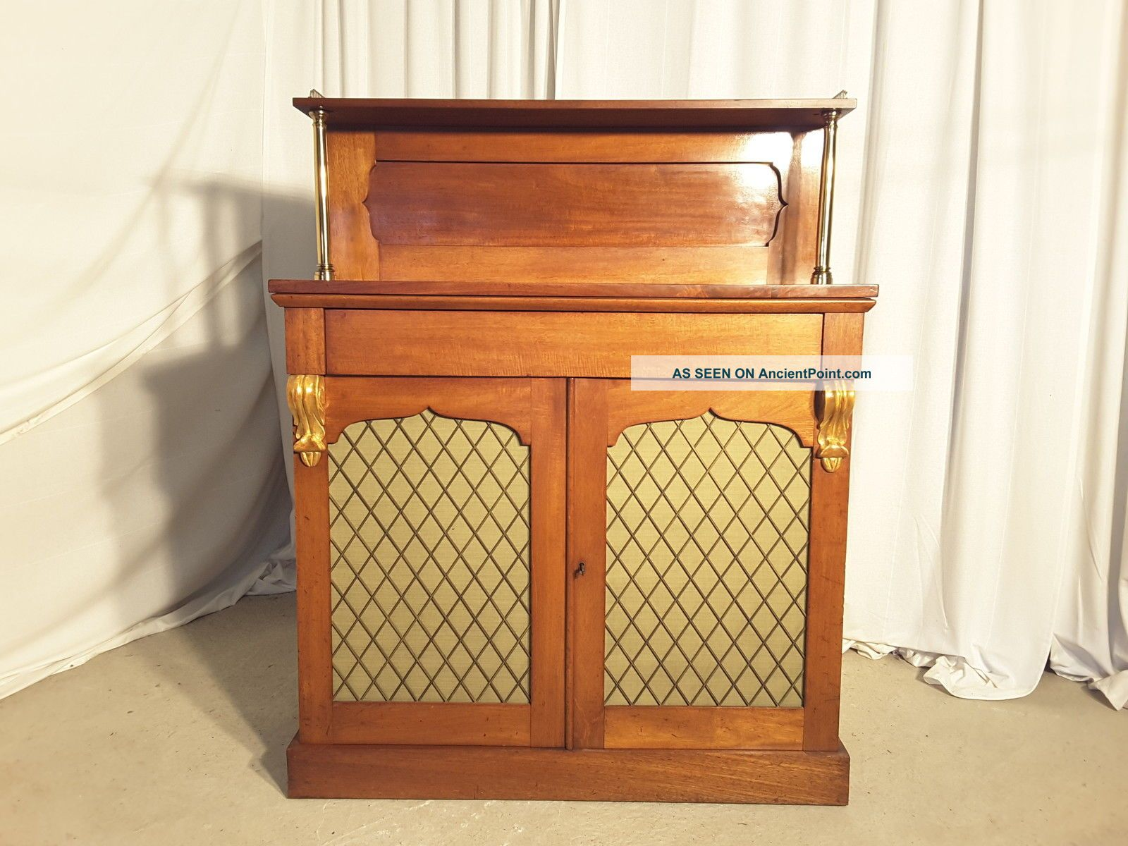 Antique Victorian Mahogany Chiffonier Bookcase With Silk Lined Brass Grilles 1800-1899 photo