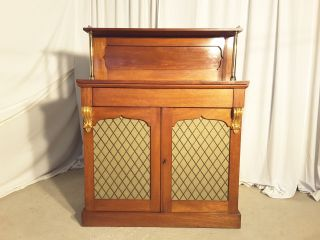 Antique Victorian Mahogany Chiffonier Bookcase With Silk Lined Brass Grilles photo
