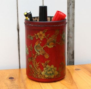 Chinese Dynasty Wood Lacquerware Magpies Plum Flower Palace Brush Pot Pencil G photo