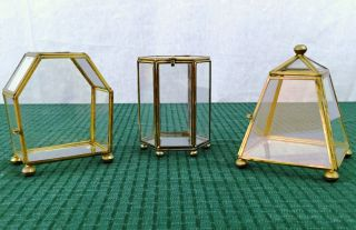 3 Vtg Brass Glass Jewelry Miniature Display Curio Cabinet Table Top Pyramid Box photo
