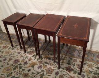 Antique Inlaid Banded Mahogany Sheraton Nesting Tables photo