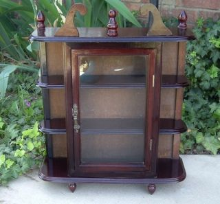 Vtg Wood Curio Cabinet 3 Shelves Glass Door Wall & Table Top Eastlake Vgvc photo