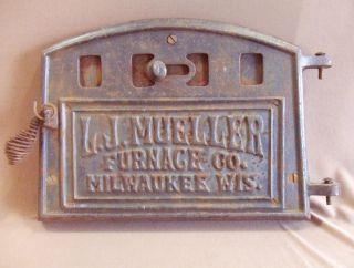 Antique L.  J.  Meuller Furnace Co.  Cast Iron Wood Stove Door W/ Adjustable Vent photo