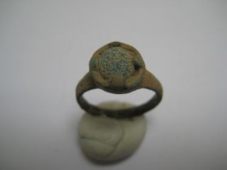 Ancient Roman Bronze Finger Ring With A Blue Glass photo