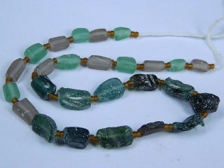 Ancient Fragment Glass Beads Strand Roman 200 Bc Ml1299 photo