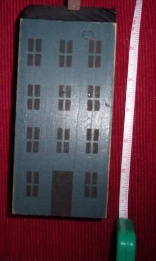 Primitive Deco Americana Saltbox House Tall Blue Wood Block House photo