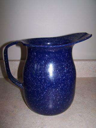 U.  S.  N.  Geuder Paschke & Frey Co.  Blue Spatter Graniteware Pitcher photo