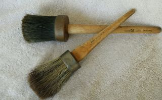 Two Antique Vintage Horsehair Paint Brushes - 1 Wolfe Brush Co.  1 Rubberset Co. photo