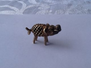Rare Antique African Tribal Cast Brass Ashanti Akan Gold Weight - Pig photo