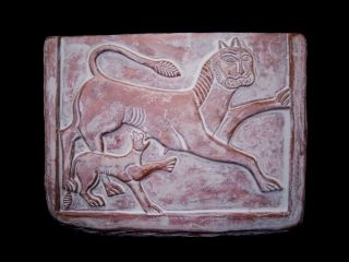 Ancient Terracotta Votive Plate Depicting Two Lions,  Replica photo