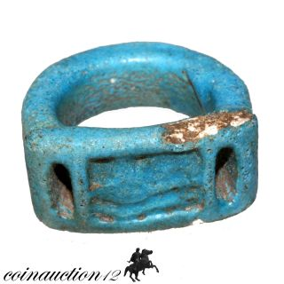 Ancient Egyptian Faience Glaze Ring 700 - 500 Bc photo