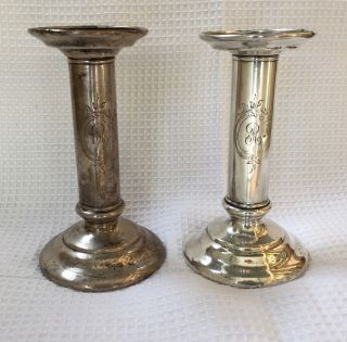 Antique Tiffany & Co Sterling Silver Candlesticks 925 Circa 1940s photo