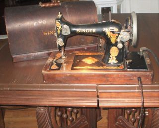 Antique 1925 Singer Sewing Machine Model 128 Aa482846 With Knee Bar Light Case photo