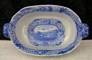 Rare Antique Staffordshire Durham Ox Blue Transferware Footed Soup Tureen photo