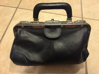 Vintage Doctor ' S Bag Black Leather Dr Bag Physician Apothecary Dr Satchel photo