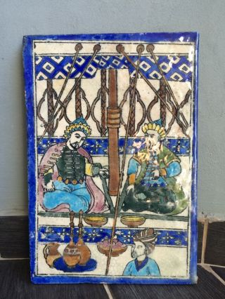 Antique Persian Middle Eastern Ceramic Tile Hand Paint Museum Piece Estate photo
