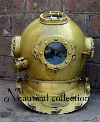 Antique Scuba Sca Divers Diving Helmet Us Navy Mark V Deep Sea Marine Divers 18