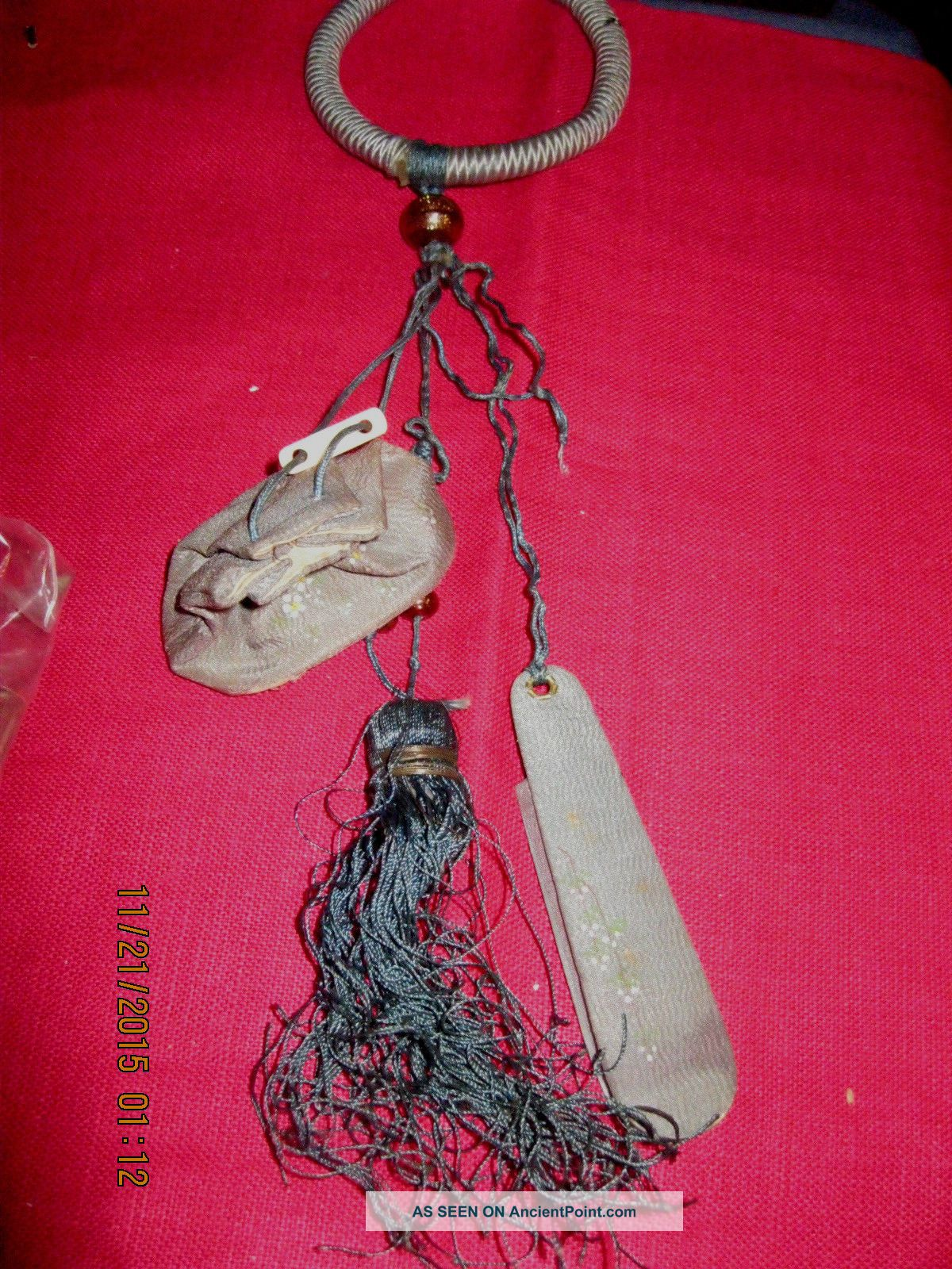 Rare Antique Victorian Hand Made Silk Sewing Chatelaine Japan Gray Green Beads Other Antique Sewing photo