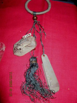 Rare Antique Victorian Hand Made Silk Sewing Chatelaine Japan Gray Green Beads photo