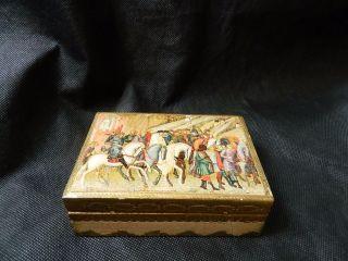 Vintage Gold Italian Florentine Tole Box With Renaissance Scene On Lid. photo