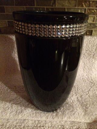 Art Deco Black Glass Vase With 1
