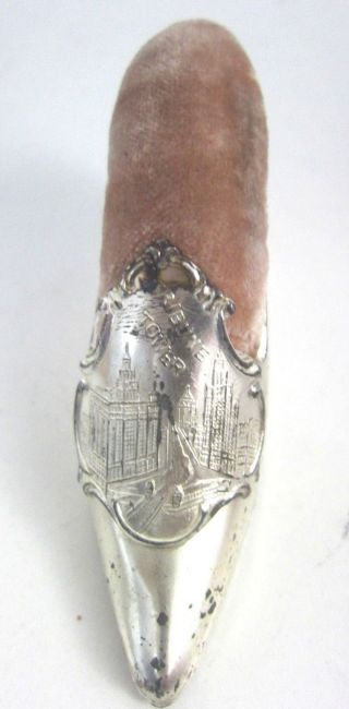 Antique Jennings Brothers Shoe Pin Cushion Jb 515 Tribune Tower Chicago Silver photo