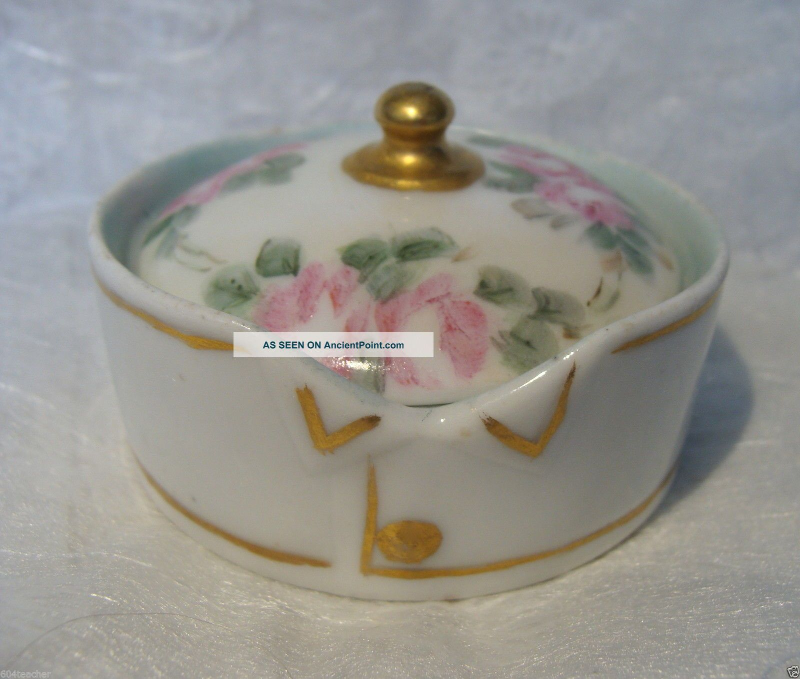 1908 Germany Hand Painted Porcelain Stud Collar Button Box Bavaria Rosenthal Baskets & Boxes photo