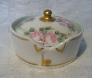 1908 Germany Hand Painted Porcelain Stud Collar Button Box Bavaria Rosenthal photo