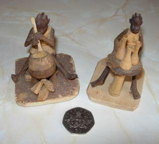 Vintage Carved Wooden African Tribal Figures photo