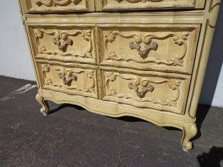 French Provincial Rococo Dresser Chest Drawers Shabby Chic Tallboy Bassett photo