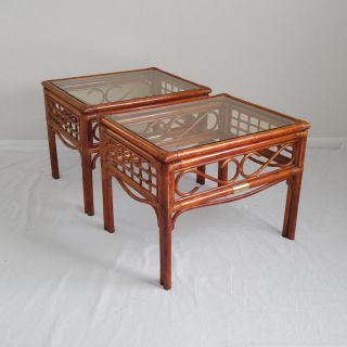 2 Hollywood Regency Bamboo Rattan Brass End Tables Chinese Chippendale Jungalow photo
