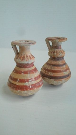 Corinthian Aryballos Pots Jars W/ Banded & Radial Lines,  600 Bce,  Greece photo