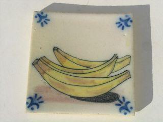 Vintage Portuguese Portugal Sant Anna Lisboa Bananas Tile photo