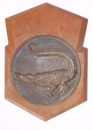 Vintage Israel Army Navy Amphibious Landing Craft Unit Brass Alligator Plaque photo