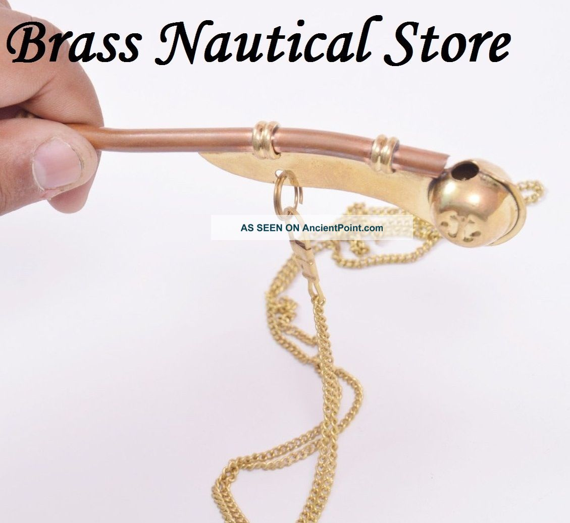 Bosun Call Pipe Whistle With Chain Brass Copper Us Navy Reproduction Gift Bells & Whistles photo