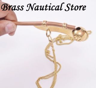 Bosun Call Pipe Whistle With Chain Brass Copper Us Navy Reproduction Gift photo
