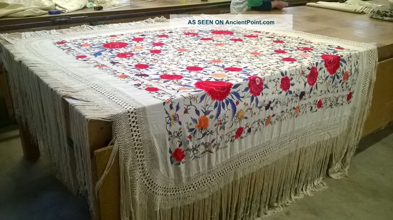 Old Antique Rare Chinese Shawl Fringed Hand Embroidered Silk China 1800 1900 Embroidery photo