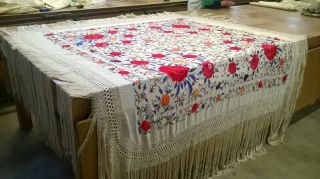 Old Antique Rare Chinese Shawl Fringed Hand Embroidered Silk China 1800 1900 photo