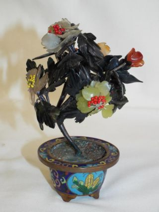Lovely Small Vintage Chinese Cloisonne And Jade Tree. photo