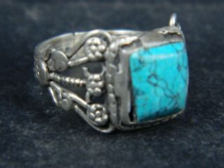 Ancient Post Medieval Silver Ring With Stone 1800 Ad Az07 photo