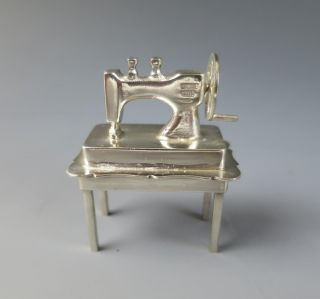 Vintage Dutch Silver Sewing Machine Dollhouse Miniature Table Hand Crank photo