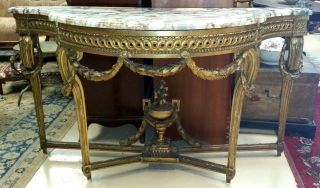 Antique Gilt French Louis Xvi Console W Marble Top Carved Urn Swags W61  X D 24