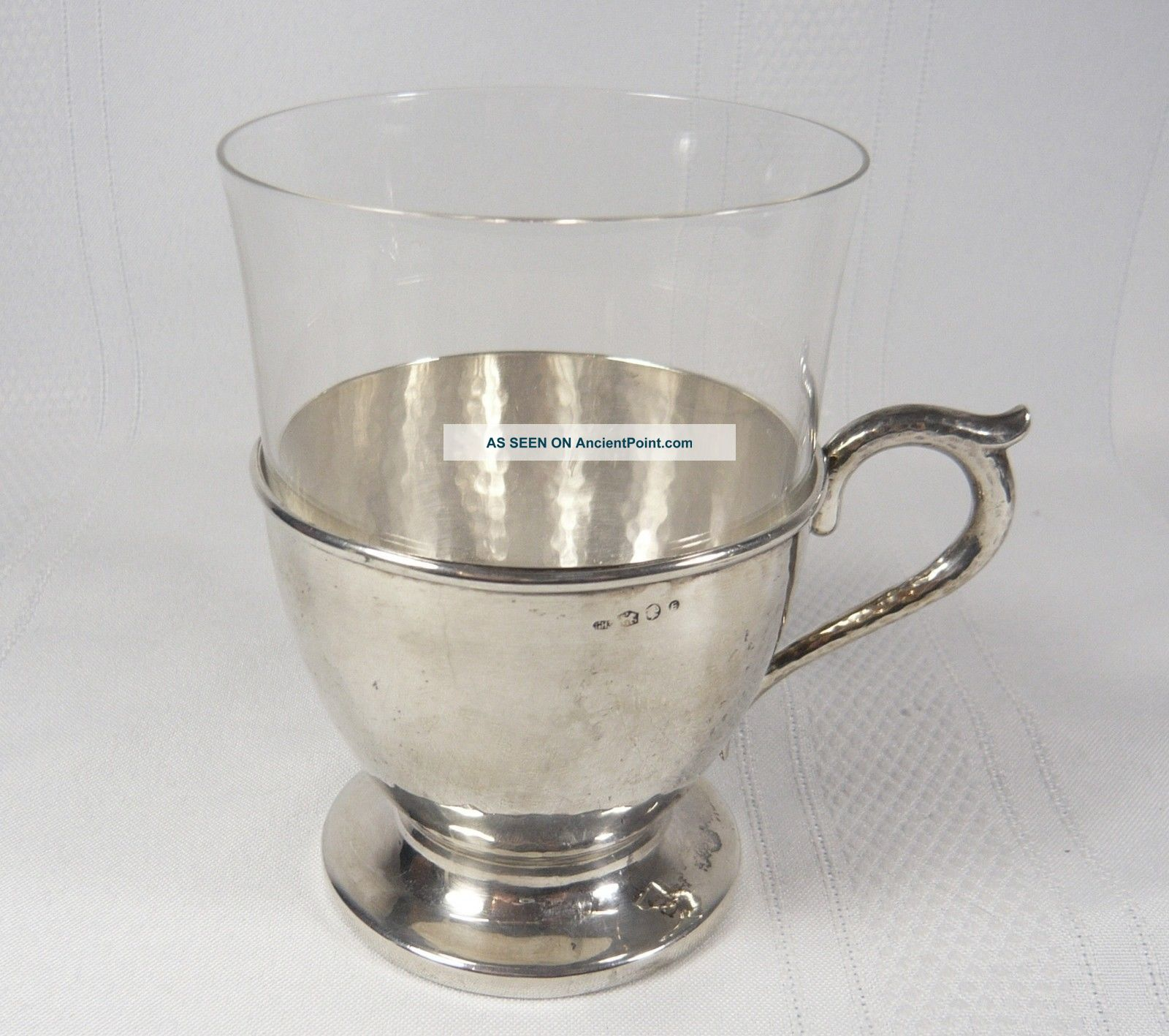 Antique Dutch Netherlands Hammered Silver Glass Cup Gerr Huisman 69 Grams Cups & Goblets photo