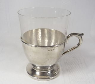 Antique Dutch Netherlands Hammered Silver Glass Cup Gerr Huisman 69 Grams photo