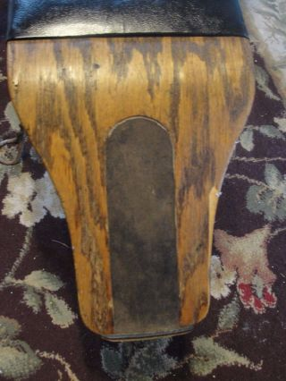 Antique Shoe Store Salesmans Shoe Bench Seat,  Wood With Twisted Metal Legs photo