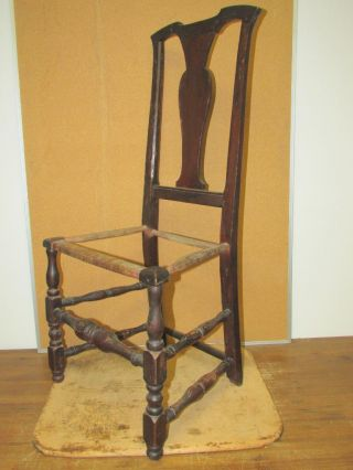 Rare 18th C Woodbury Ct Qa Side Chair Brown Paint & Boldest Stretchers photo