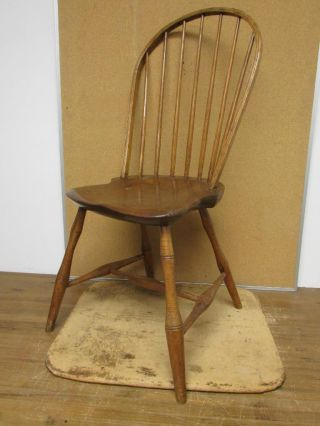 A Rare 18th C Connecticut Tracy School Bowback Windsor Chair Great Early Form 2 photo