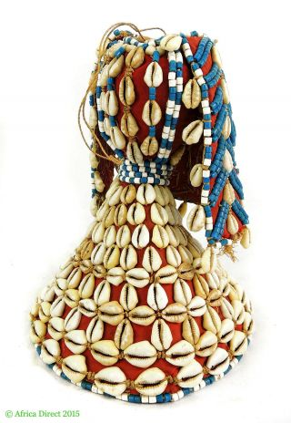 Kuba Royal Hat Kupash Bark Red Cloth Beads Cowrie Shells Africa photo