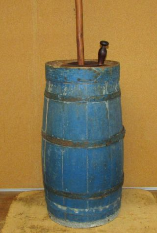 A Great Early 19th C Staved Wooden Butter Churn In The Best Blue Paint photo